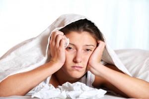female sick in bed