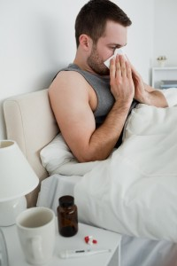 male sick in bed