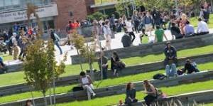 SUNY Binghamton students outside