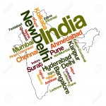 7747269-India-map-and-words-cloud-with-larger-cities-Stock-Vector